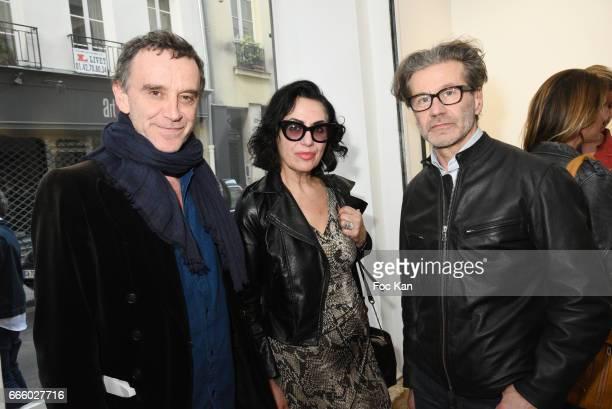 Composer Sylvain Firmin Guion plastician artists Lyne Vermes and Laurent Saksik attend 'Megeve A Paris' Summer 1948 Gaston Karquel Photo Exhibition...
