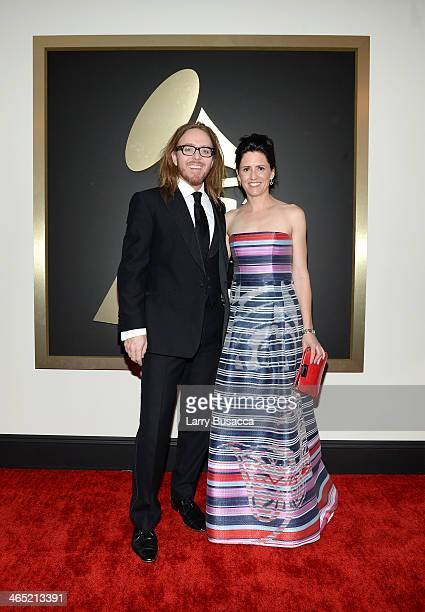 Composer/Lyricist Tim Minchin and Sarah Minchin attend the 56th GRAMMY Awards at Staples Center on January 26 2014 in Los Angeles California