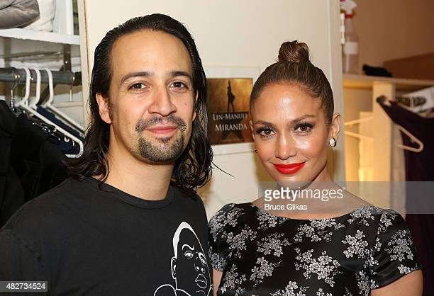 Composer/Lyricist/Star LinManuel Miranda and Jennifer Lopez pose backstage at the hit new musical Hamilton on Broadway at The Richard Rogers Theater...