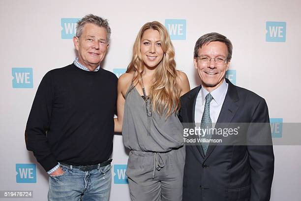 Composer/music producer David Foster recording artist Colbie Caillat and Chairman and CEO at The Allstate Corporation Tom Wilson attend the WE Day...