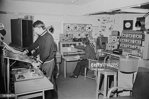 Composers and sound engineers Malcolm Clarke and Brian Hodgson at work in the BBC Radiophonic Workshop at the BBC's Maida Vale studios London 22nd...