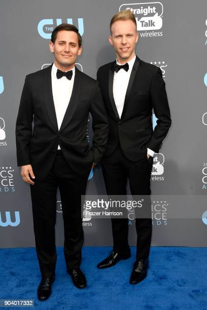 Composers Benj Pasek and Justin Paul attend The 23rd Annual Critics' Choice Awards at Barker Hangar on January 11 2018 in Santa Monica California
