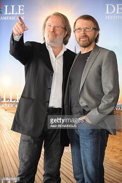 Composers Bjorn Ulvaeus and Benny Anderson of the Swedish group Abba pose during the photocall of yesterday night opening film 'Mamma Mia ' presented...