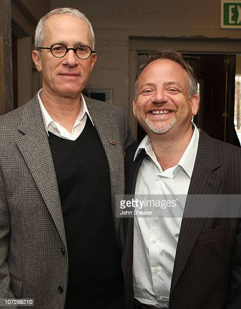 Composers James Newton Howard and Marc Shaiman arrive at Knowing the Score Composing for the Screen at the Palm Canyon Theatre on January 5 2008 in...