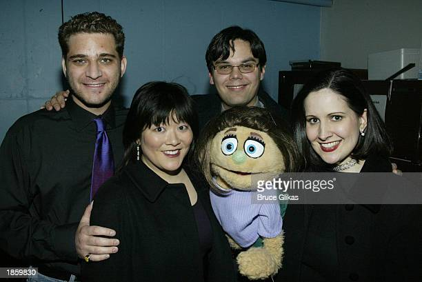 Composers Jeff Marx Robert Lopez with cast members Ann Harada Kate Monster and Stephanie D'Abruzzo attend the opening night party for Avenue Q a new...