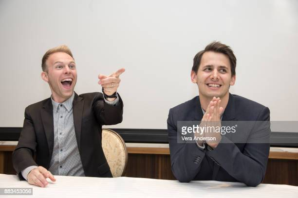 Composers Justin Paul and Benj Pasek at The Greatest Showman Press Conference at the Four Seasons Hotel on November 28 2017 in Beverly Hills...
