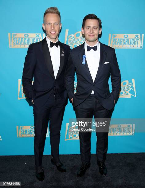 Composers Justin Paul and Benj Pasek attend the Fox Searchlight And 20th Century Fox Oscars PostParty on March 4 2018 in Los Angeles California