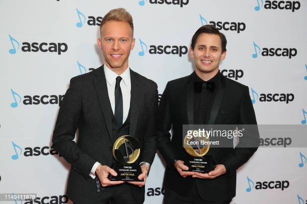 Composers Justin Paul and Benj Pasik winners of the ASCAP Vanguard Award attends 34th Annual ASCAP Screen Music Awards at The Beverly Hilton Hotel on...
