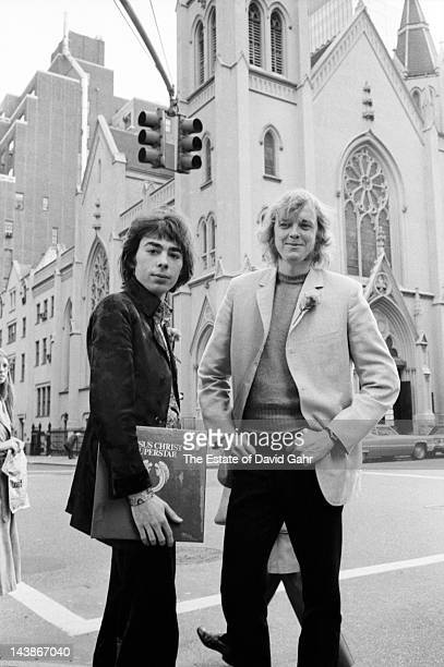 Composers, lyricists and impresarios Andrew Lloyd Weber and Tim Rice pose for a portrait on October 27, 1970 upon the release of their double-LP...