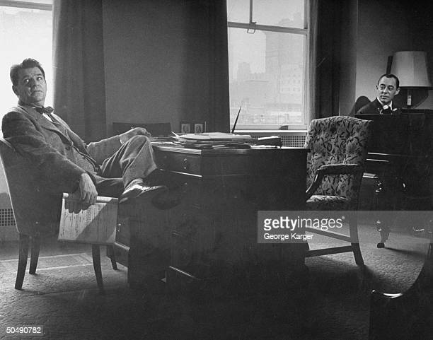 Composers Oscar Hammerstein II and Richard Rodgers sitting in their office