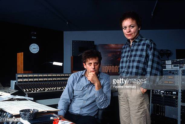 Composers Philip Glass and Laurie Anderson at a rehearsal of their collaboration on 'Songs From Liquid Days' New York City 10th October 1985