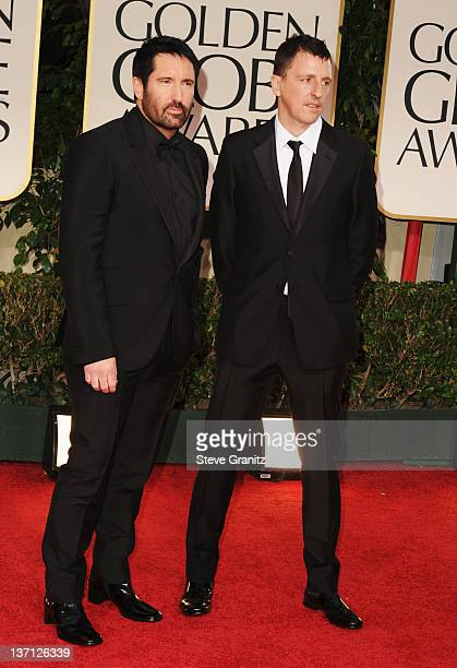 Composers Trent Reznor and Atticus Ross arrive at the 69th Annual Golden Globe Awards held at the Beverly Hilton Hotel on January 15 2012 in Beverly...