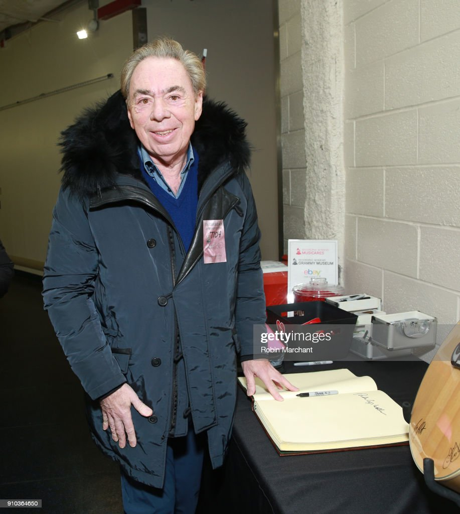 Composer/writer Andrew Lloyd Webber with the GRAMMY Charities Signings during the 60th Annual GRAMMY Awards at Madison Square Garden on January 25, 2018 in New York City.