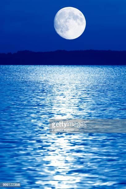 Composing, moon over Lake Chiemsee, Bavaria, Germany