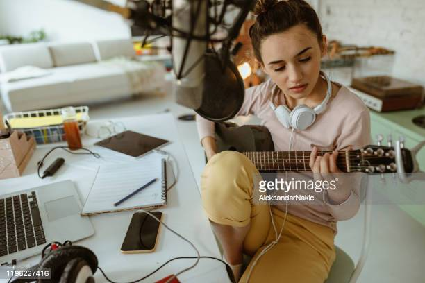 composing music in home music studio - composer stock pictures, royalty-free photos & images