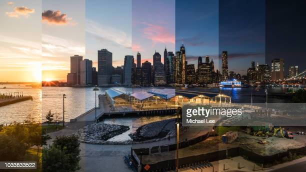 composite day to night view of lower manhattan - new york - tag stock-fotos und bilder
