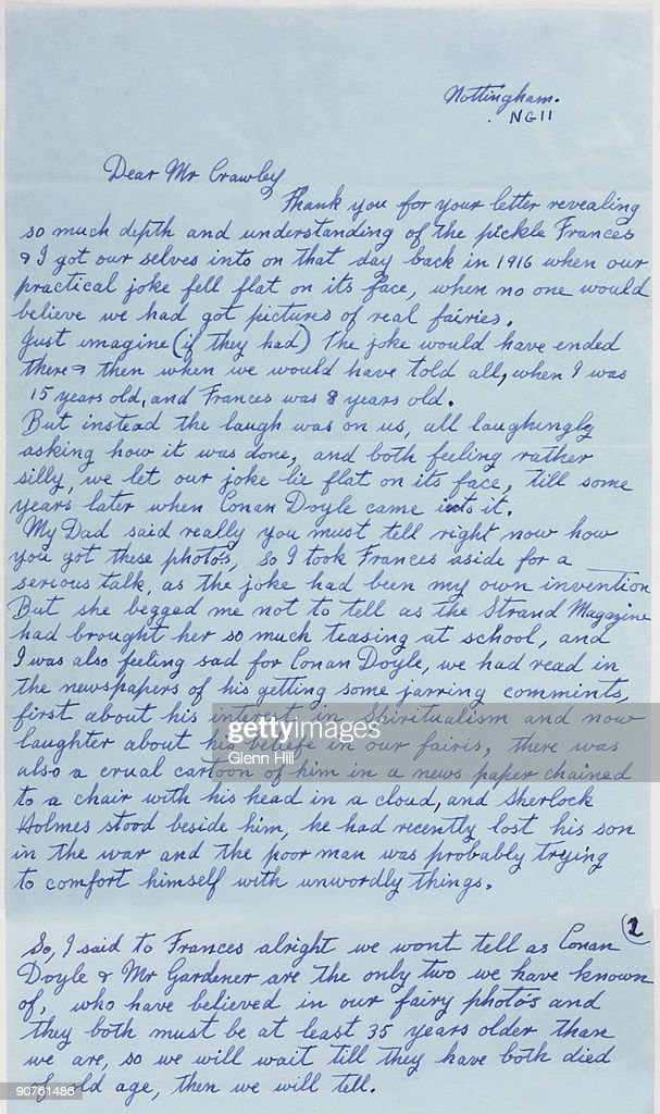 A composite digital image of the first page and part of the second page of a letter by Elsie Hill, nee Wright (1901-1988), to Geoffrey Crawley, dated 17 February 1983. Crawley had written in the British Journal of Photography about 'That Astonishing Affair of the Cottingley Fairies' (1982-1983) - prompting Elsie, one of the photographers, to write to him. She expressed her pleasure at Crawley's work and her desire to reveal the truth, in her own words, about how the photographs were taken - more than sixty years after the event. Her full address has been digitally removed. The story began as a practical joke in Cottingley, near Bradford, West Yorkshire in 1917. The photographs of the 'Beck Fairies', as the girls called them, went on to become one of the most famous examples of image manipulation in photography.