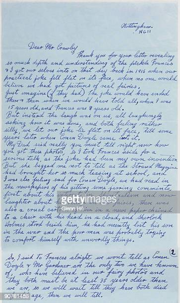 A composite digital image of the first page and part of the second page of a letter by Elsie Hill nee Wright to Geoffrey Crawley dated 17 February...