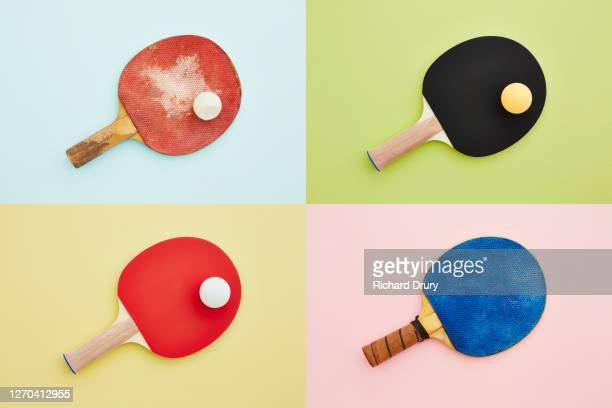 composite grid of table tennis bats and balls - table tennis racket stock pictures, royalty-free photos & images