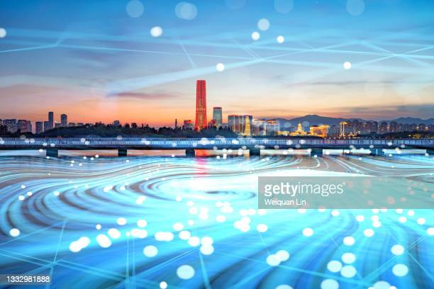composite image of 5g big data communication in modern city - generic description stock pictures, royalty-free photos & images