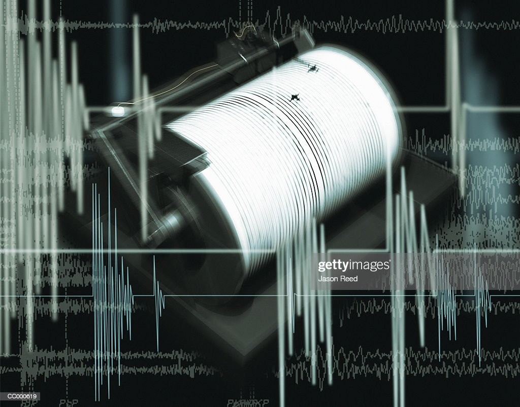 Composite Image of a Chart and a Richter Scale : Stock Photo