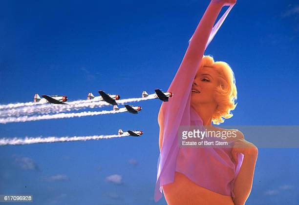 A composite image of a formation flying display and American actress Marilyn Monroe photographed in Beverly Hills California at the end of June 1962...