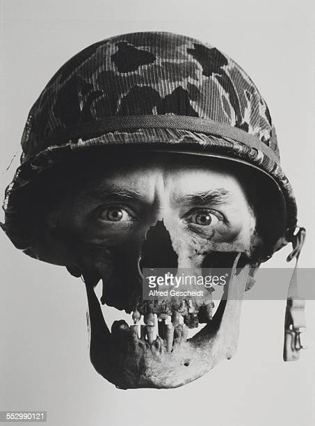 A composite image of a human skull and the face of a soldier 1991