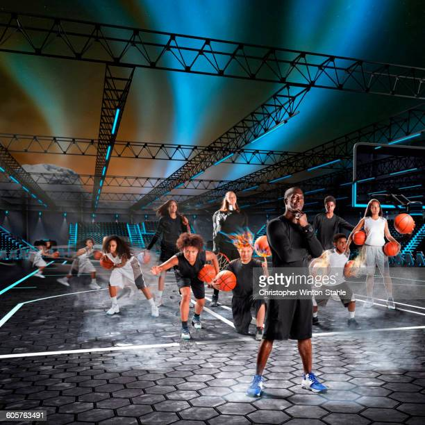 Composite image of athletes playing basketball on court