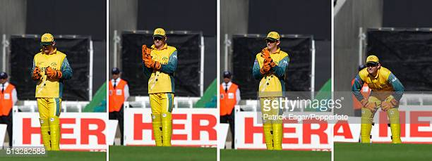 Composite image of Australia wicketkeeper Adam Gilchrist during the ICC Champions Trophy match between Australia and New Zealand The Oval London 16th...