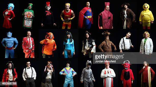 A composite image of darts fans in fancy dress on Day Eight of the William Hill PDC World Darts Championships at Alexandra Palace on December 28 2014...