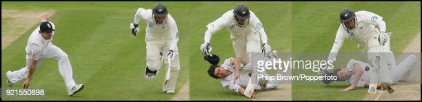 Composite image of England fielder James Anderson attempting to run out New Zealand batsman Ross Taylor as they end up colliding during the 3rd Test...