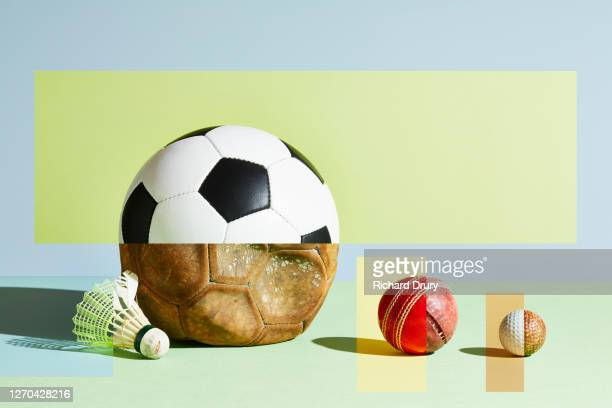 composite image of old and new sports balls - new stock pictures, royalty-free photos & images