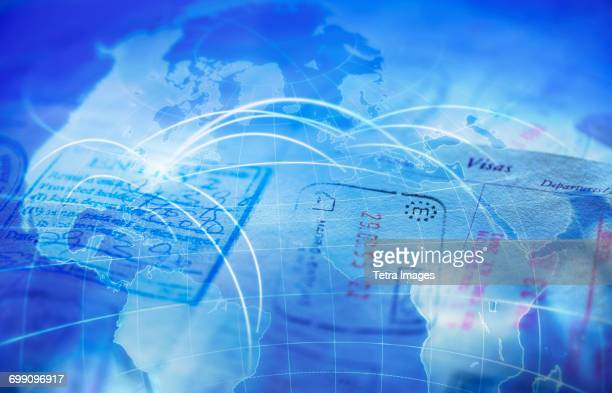 Composite image of passport and map with glowing rays