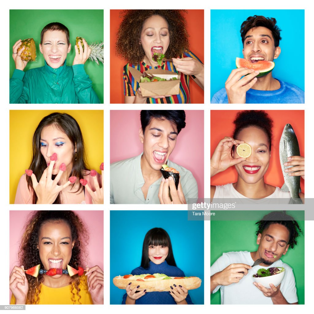 composite image of people eating healthy food : Stock Photo