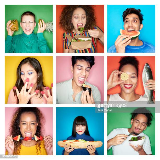 composite image of people eating healthy food - bontgekleurd stockfoto's en -beelden