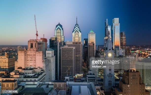 composite image of philadelphia skyline during sunrise - philadelphia skyline stock pictures, royalty-free photos & images