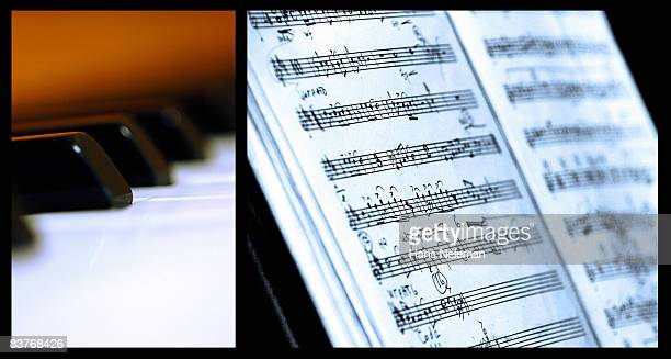 Composite image of Piano keys and sheet music