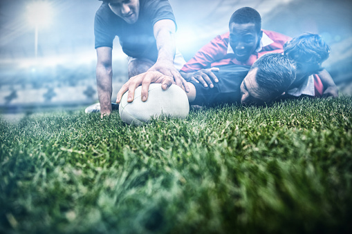 Composite image of rugby fans in arena 3d 639687432