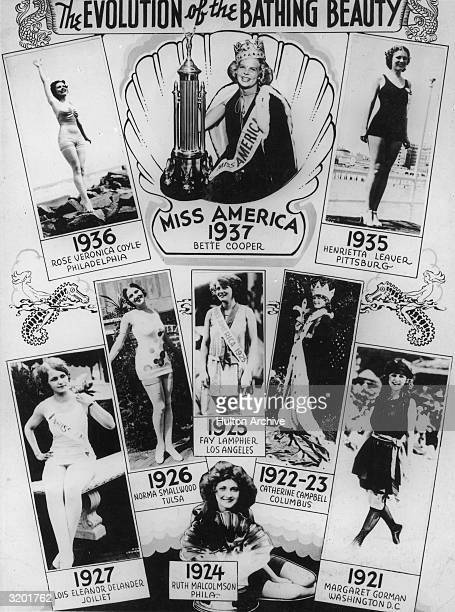 Composite image of selected winners of the Miss America beauty pageant from 1921 through 1937, entitled 'The Evolution of the Bathing Beauty,'.