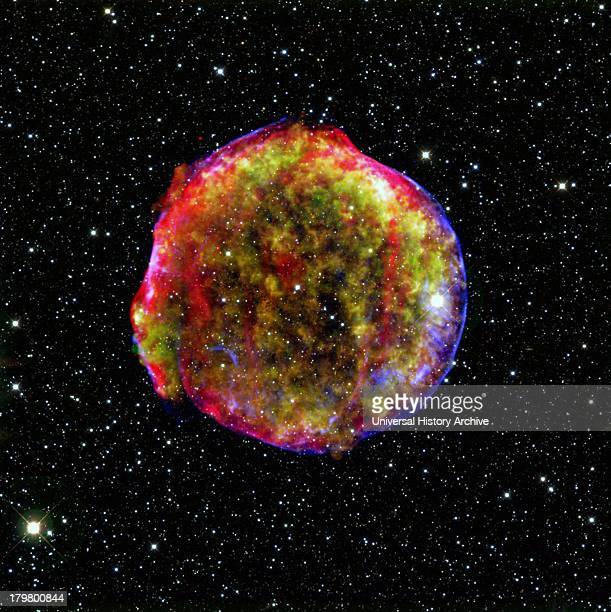 A composite image of the Tycho supernova remnant Spitzer and Chandra space observatories It shows the scene more than four centuries after the star...