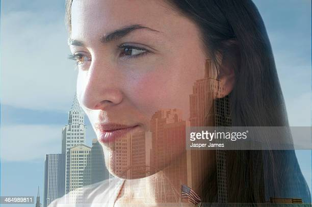 composite image of woman and cityscape
