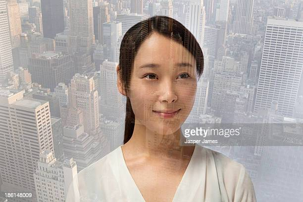 composite image of young woman and NEW YORK