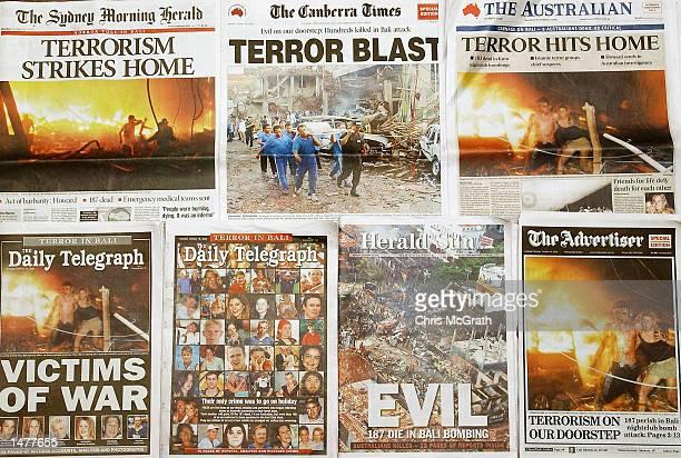 A composite image showing Australian newspaper frontpage headlines of the terrorist bombing attcks in Bali taken in Sydney Australia on October 16...