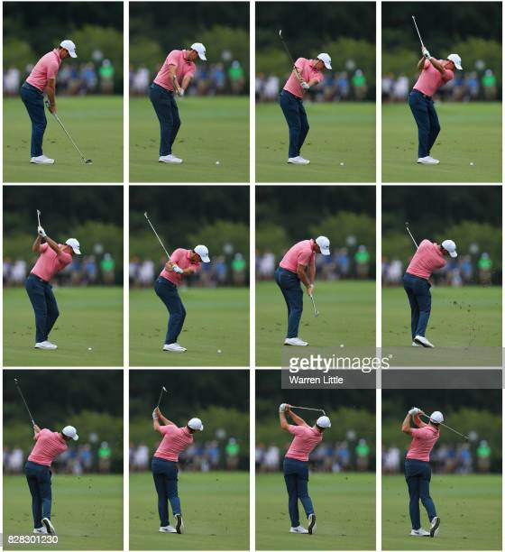 A composite image showing the swing sequence of Rory McIlroy of Northern Ireland as he plays his second shot on the fifth hole during a practice...