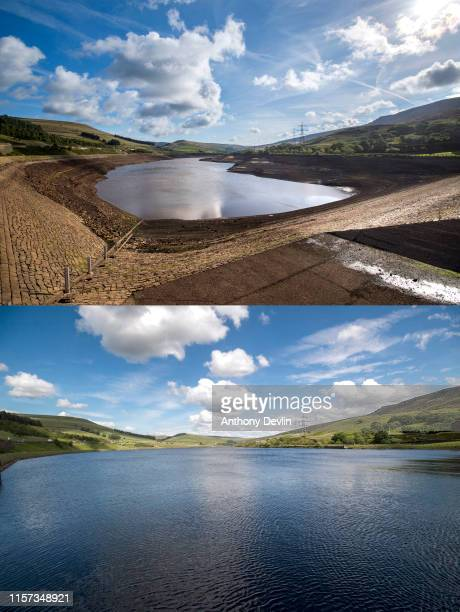 Composite image shows a file photo dated September 13 2018 showing an empty Woodhead reservoir after a long dry summer last year and a general view...