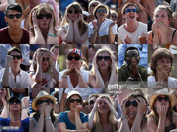 A composite image shows fans reactions on Murray Mound as they watch a large screen television showing Andy Murray of Great Britain lose to Roger...