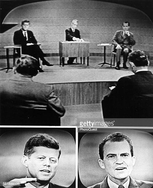 Composite image shows screen captures from the first televisied US Presidential debate between politicians Senator John F Kennedy and then Vice...