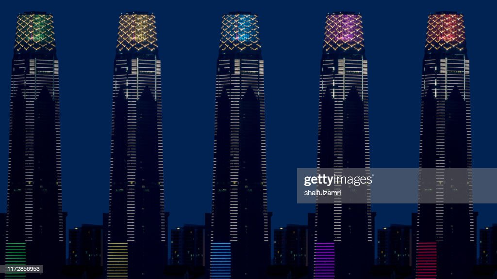Composite of 5 images of The Exchange 106, the 106-floor building is topped with 12 storey high illuminated crown making it 452m tall. : Stock Photo