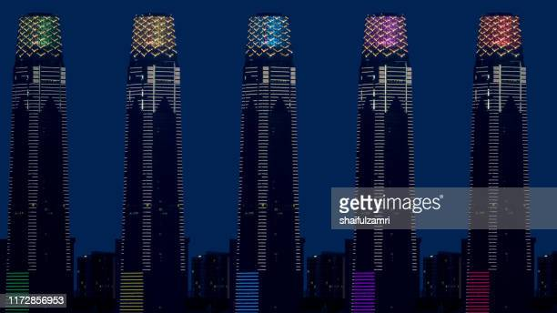 composite of 5 images of the exchange 106, the 106-floor building is topped with 12 storey high illuminated crown making it 452m tall. - shaifulzamri fotografías e imágenes de stock