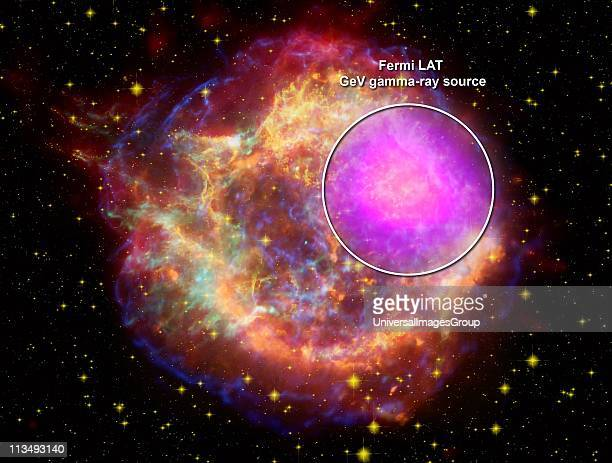 Composite of Cassiopeia A supernova remnant across the spectrum: Gamma rays Fermi Gamma-ray Space Telescope: X-rays Chandra X-ray Observatory:...